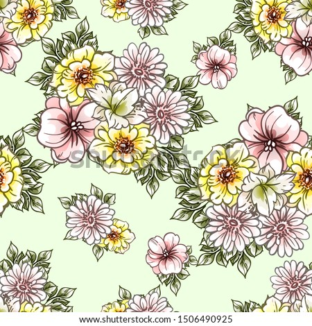 Flower print. Elegance seamless pattern. #1506490925