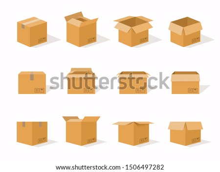 Carton delivery packaging open and closed box with fragile signs. Cardboard box mockup set. Royalty-Free Stock Photo #1506497282
