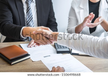 Successful job interview, Image of Boss employer committee or recruiter in suit and new employee shaking hands and clap after good deal negotiation interviewing, career and placement concept. #1506498668