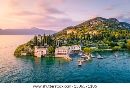 Punta San Vigilio on Garda Lake, Verona province, Veneto, Italy Royalty-Free Stock Photo #1506571106