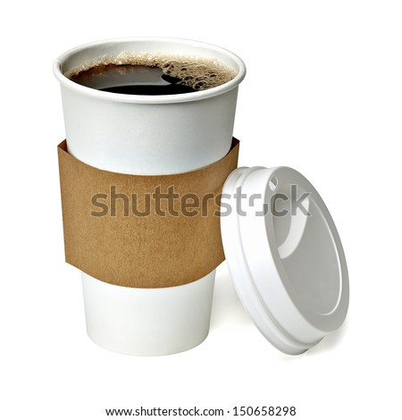 Coffee in blank craft take away medium cup isolated on white background packaging template mockup collection with clipping path #150658298