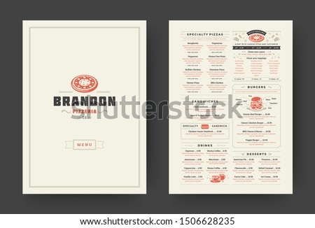 Pizza restaurant menu layout design brochure or food flyer template vector illustration. Pizzeria logo with vintage typographic decoration elements and fast food graphics. Royalty-Free Stock Photo #1506628235