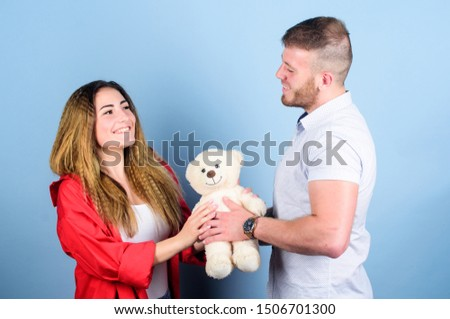 Valentines day holiday. Surprise for sweetheart. Soft toy teddy bear gift. Man and woman couple in love. Romantic surprise. Surprise gift concept. Surprising her. Handsome man and pretty girl in love. #1506701300