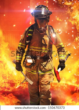 Firefighter searches for possible survivors with tools, tactical lighting and thermal imaging camera . Part of a firefighter series.