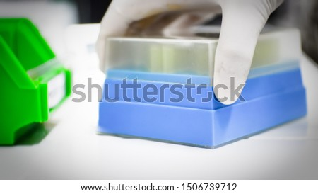 Laboratory equipment on blur background.science concept. #1506739712