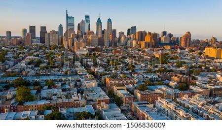 Aerial view over the neighborhoods and streets of Philadelphia PA USA