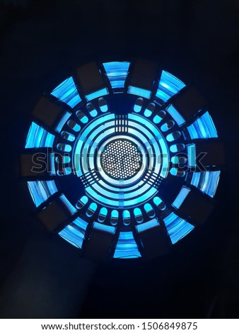 closeup of the arc reactor on a black background