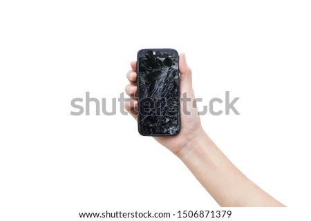 Left hands of woman holding smartphone with a broken screen isolate on white background and clipping path.