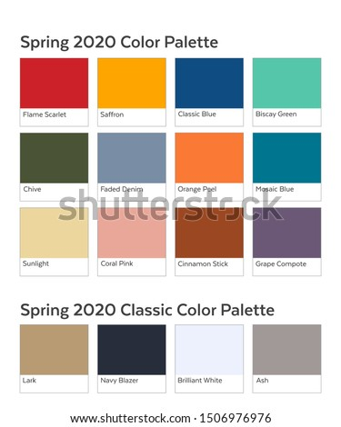 Spring / Summer 2020 Palette Example. Future Color Trend Forecast. Saturated and Classic Neutral Colour Samples Set. Palette Guide with Named Swatches Included in EPS File. #1506976976