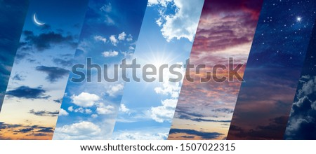 Different times of day: dawn and sunset, day and night. Concept of continuous flow of time and unity and struggle of opposites. Elements of this image furnished by NASA Royalty-Free Stock Photo #1507022315