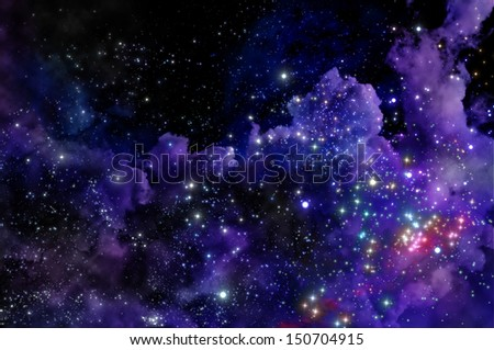 stars shine through the clouds of a new nebula #150704915
