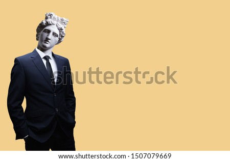 Modern art collage. Concept portrait of a  businessman pointing finger .Gypsum head of of Apollo. Man in suit.  #1507079669