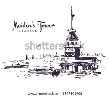 Drawing sketch illustration of the Maiden's Tower, the tower on an islet in the middle of the Bosphorus, Istanbul #1507101908
