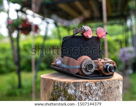 Steampunk vintage hat with googles and various mechanical devices #1507144379