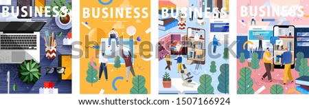 Big business set. Flat cartoon vector illustration: workplace desk; creation by people of concepts, ideas and design; life on social networks and the Internet; businessmen work and meeting in office.  #1507166924