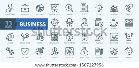 Business and finance web icon set - minimal thin line web icon set. Outline icons collection. Simple vector illustration. #1507227956