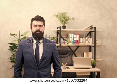 Provide consultation to management on strategic staffing plans. Office staff. HR director. HR management. HR job description. Head of human resources department. Man bearded serious office background. #1507332284