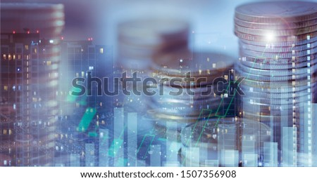Financial investment concept, Double exposure of city night and stack of coins for finance investor, Forex trading candlestick chart, Cryptocurrency  Digital economy. economy growing. #1507356908