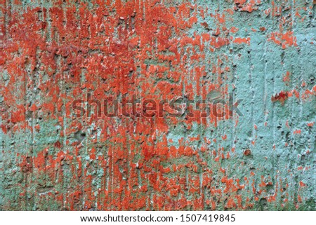 Rough surface texture of red and turquoise color. Old wall #1507419845