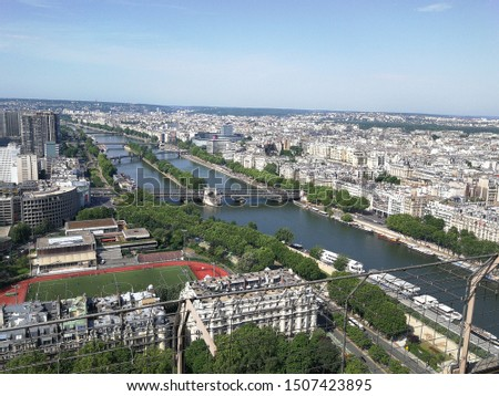 Paris panoramic view from the Eiffel Tower  #1507423895