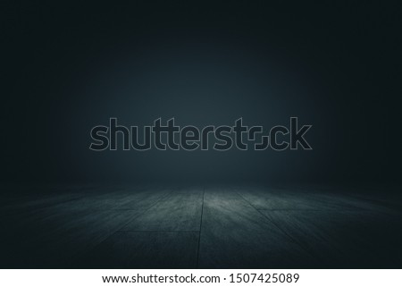 Abstract spacious showroom with dark wall for copyspace, wooden floor and spot light from above. 3D Rendering #1507425089