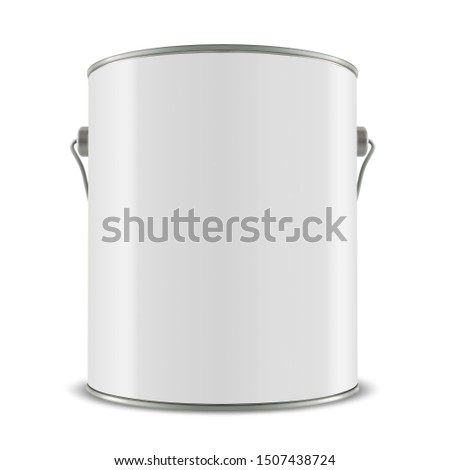 3d white tub, paint bucket container with metal handle, 3d illustration #1507438724