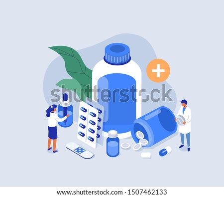 Doctor Pharmacist in Drugstore Standing near Medicine Pills and Bottles. Medical Staff  Choosing Medicaments. Pharmacy Store Concept. Flat Isometric Vector Illustration. #1507462133