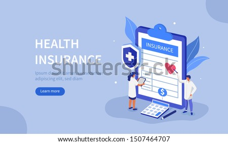 Doctors Characters stand near Health Insurance Contract. Staff in Hospital Office filling Medical Document Form. Health care Concept. Flat Isometric Vector Illustration. #1507464707