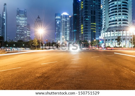 The light trails on the modern building background in shanghai china #150751529
