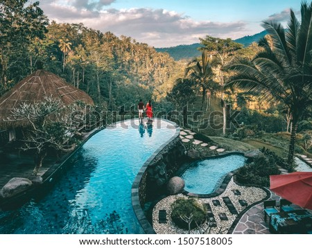 Holiday Weekend relaxing in luxury with tropical Jungle villa resort luxurious swimming pool Bali , Indonesia #1507518005