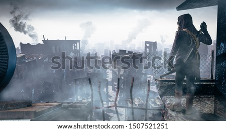 Post Apocalypse survivor concept, Ruins of a city. Apocalyptic landscape Royalty-Free Stock Photo #1507521251