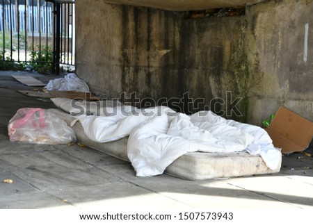London, England / United Kingdom - 15 September 2019 Homelessness in the vicinity of Stratford shopping centre, huge Homeless camp under a pathway and homeless tents around the area, rough sleepers.  #1507573943