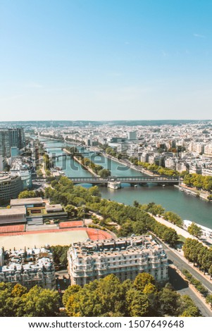 View of the river Sena and the Pont de Bir-Hakeim in Paris, France. Vertical image. #1507649648