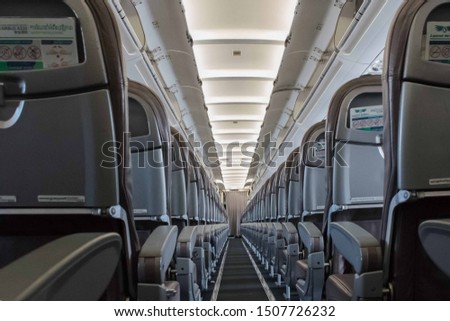 JULY 21, 2019-SIEM REAP CAMBODIA : Inside an empty Lanmei Airlines Airbus taken from the rear end of the plane traveling from Siem Reap Cambodia to Bankok, Thailand #1507726232