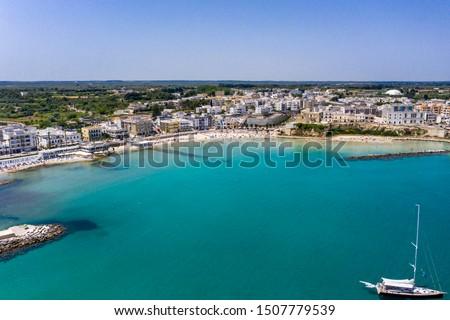 Aerial view of Otranto with Harbour and Castle, Lecce province, Salento peninsula, Puglia, Italy #1507779539