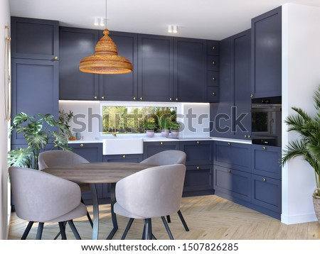 Modern kitchen with white cupboards, chalk board, 3d illustration, 3d rendering, 300 dpi