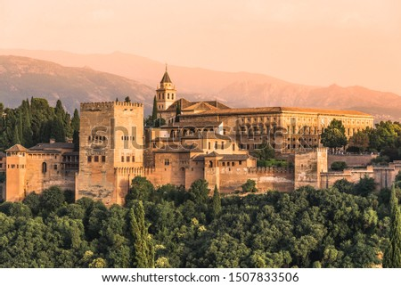 Granada, Andalusia, Spain: Panoramic view of The Alhambra fortress complex with the Nasrid Palaces and Generalife a UNESCO World Heritage Site. #1507833506