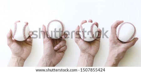 Grip on baseballs, isolated on white background.  Horizontal baseball banner concept. Royalty-Free Stock Photo #1507855424