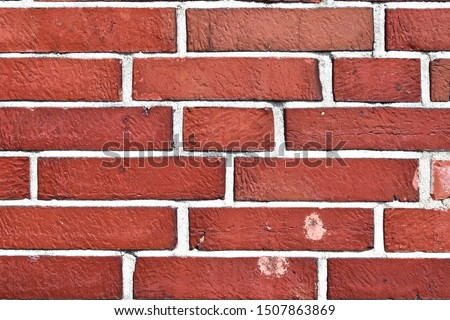 Detailed view on aged and weathered red brick walls at historical buildings in high resolution #1507863869
