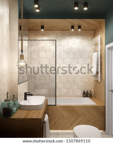 Modern Bathroom interior with wood elements and green walls and celling; 3d illustration, 3d rendering; 300 dpi