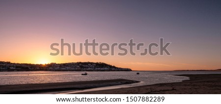 View of appledore from instow beach, devon at sunset Royalty-Free Stock Photo #1507882289