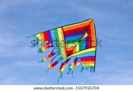 Big Multicolors kite flying on the blue sky #1507926704