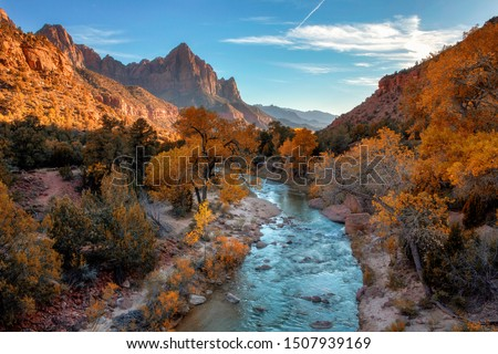 View of the Watchman mountain and the virgin river in Zion National Park located in the Southwestern United States, near Springdale, Utah, Arizona #1507939169