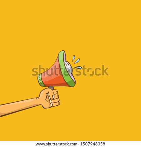 man hand holding megaphone isolated on orange background. Promotion and advertising cartoon style banner. vector Digital marketing. cartoon Business concept.  #1507948358