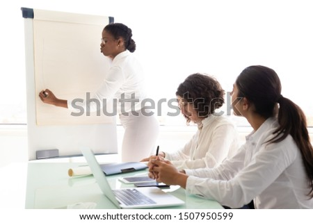 Manager presenting report or project to colleague in conference room. Young female speaker drawing on flipchart, colleagues sitting at table with laptop. Presentation concept #1507950599