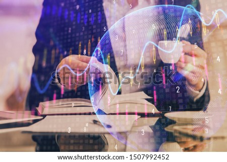 Double exposure of businessman with coffee with stock market forex chart. #1507992452