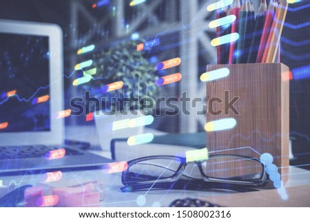 Data tech hologram with glasses on the table background. Concept of technology. Double exposure. #1508002316