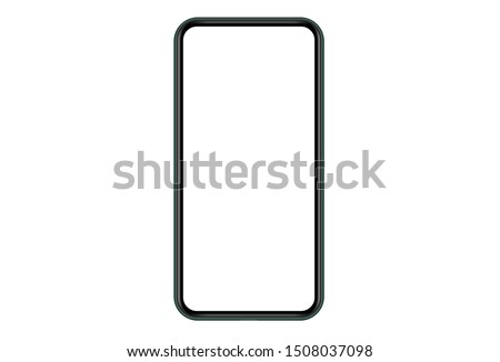 Modern Smartphone.  Mock up mobile  phone with blank white screen. Illustration for app, web, design. #1508037098