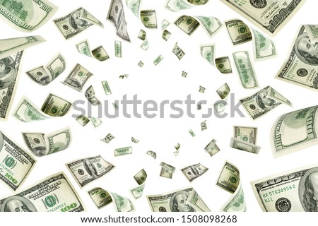 Hundred dollar bill. Falling money isolated background. American #1508098268