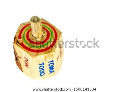 """Traditional pirinola mexican handmade wooden toy with titles in spanish """"take all, put one, put two, everyone puts"""" #1508141534"""